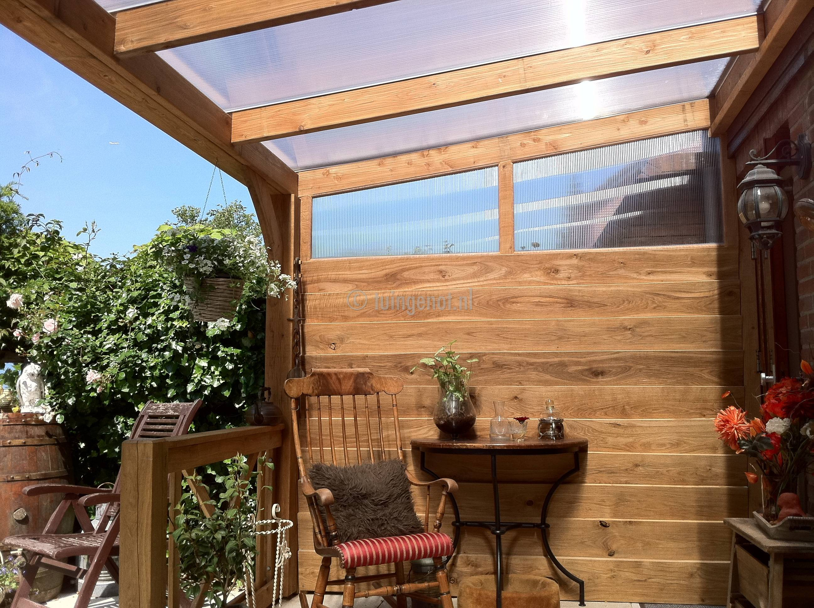 Tuingenot 53 eiken houten veranda ijsselstein for Houten veranda